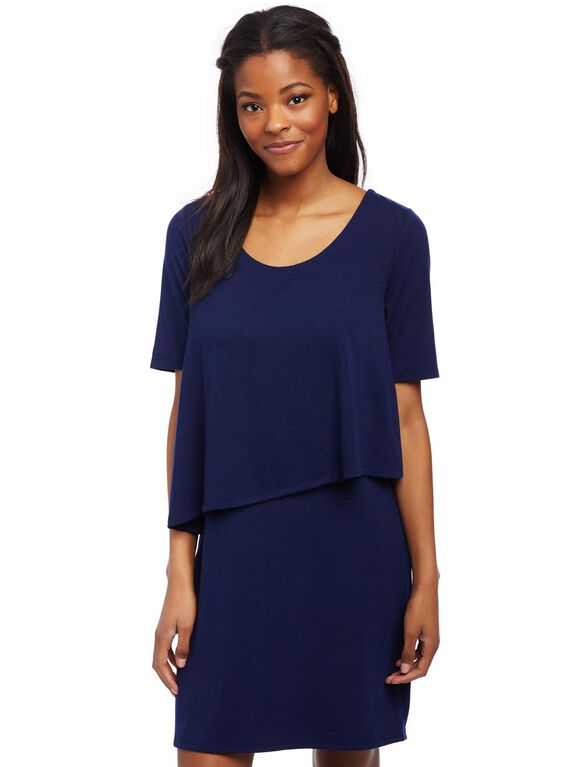 Asymmetrical Lift Up Nursing Dress- Navy, Navy