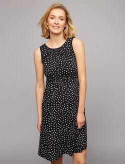 Dot Print Ruched Maternity Dress, Black/White Dot Print