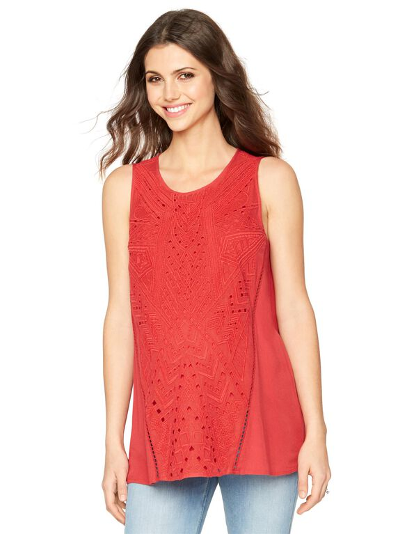 Embroidery Maternity Tank Top, Rose