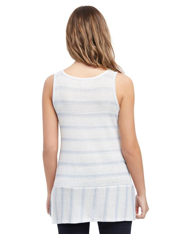 Striped Lace Trim Maternity Tank, Blue Stripe