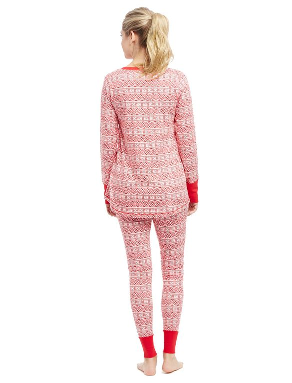 Henley Maternity Pajama Set, Red Fairisle