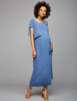 Lift Up Mock Layer Nursing Dress, Blue Willow