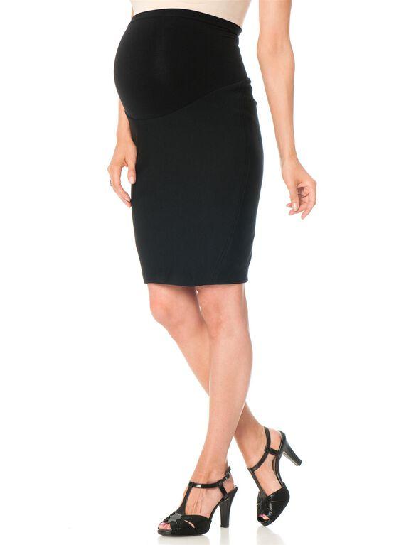 Secret Fit Belly Pencil Fit Short Ponte Maternity Skirt, Black