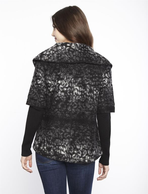 Line Toggle Closure Wool Maternity Jacket, Black/White Print
