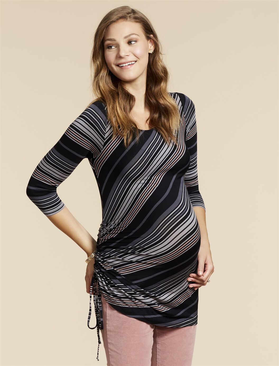 Jessica Simpson Side Tie Maternity Shirt- Stripe at Motherhood Maternity in Victor, NY | Tuggl