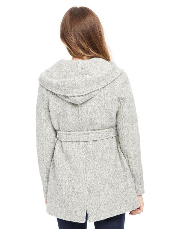 Hooded Boucle Maternity Jacket, Grey Boucle