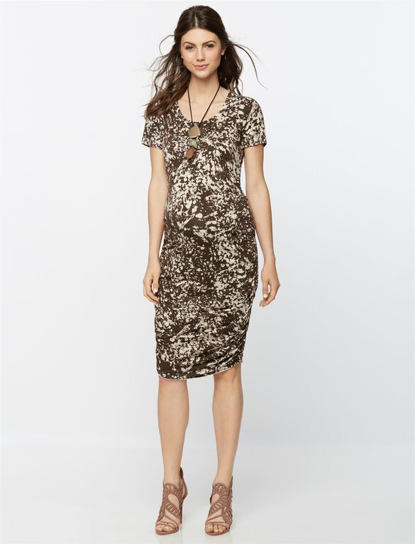 Short Sleeve Print Maternity Dress, Chocolate/Beige