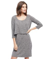 Tiered Nursing Dress - Grey, Grey