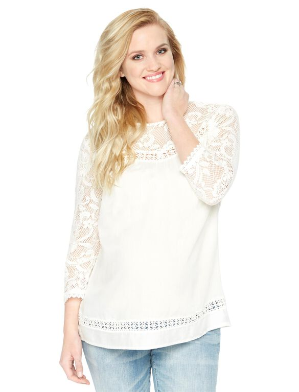 Wendy Bellissimo Lace Sleeve Maternity Blouse, White