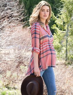 High-low Hem Maternity Tunic, Orange Plaid