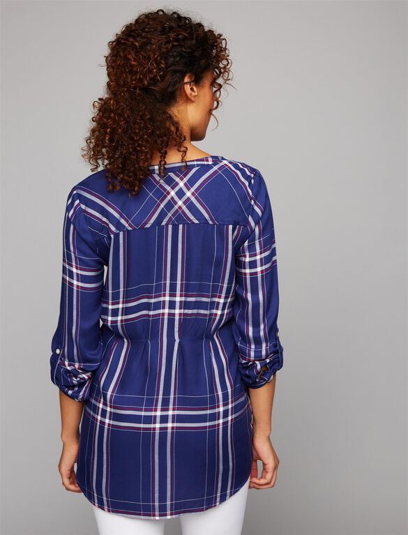 Luxe Essentials Denim Plaid Maternity Shirt- Navy, Plaid Navy