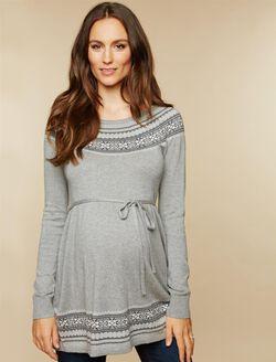 Fairisle Maternity Sweater, Gray