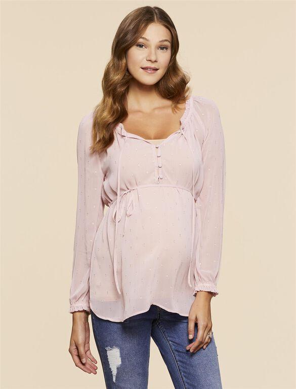 Jessica Simpson Ruffled Maternity Blouse, Pink