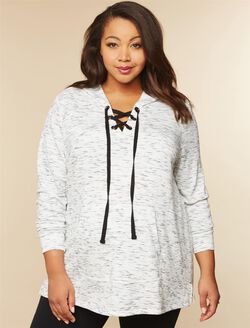 Plus Size Hooded Maternity Hoodie, White Space Dye