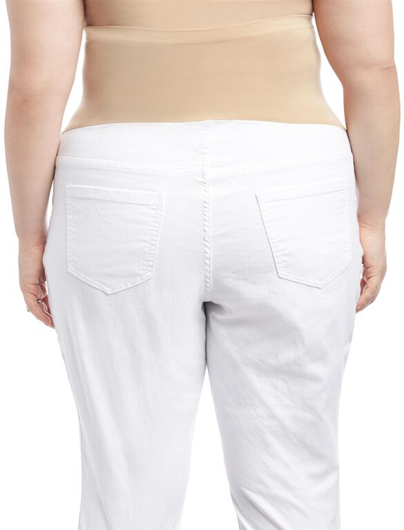 Plus Size Secret Fit Belly Skinny Leg Maternity Jeans, White