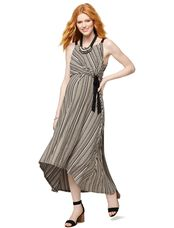 Side Tie Maternity Dress, Multi Stripe