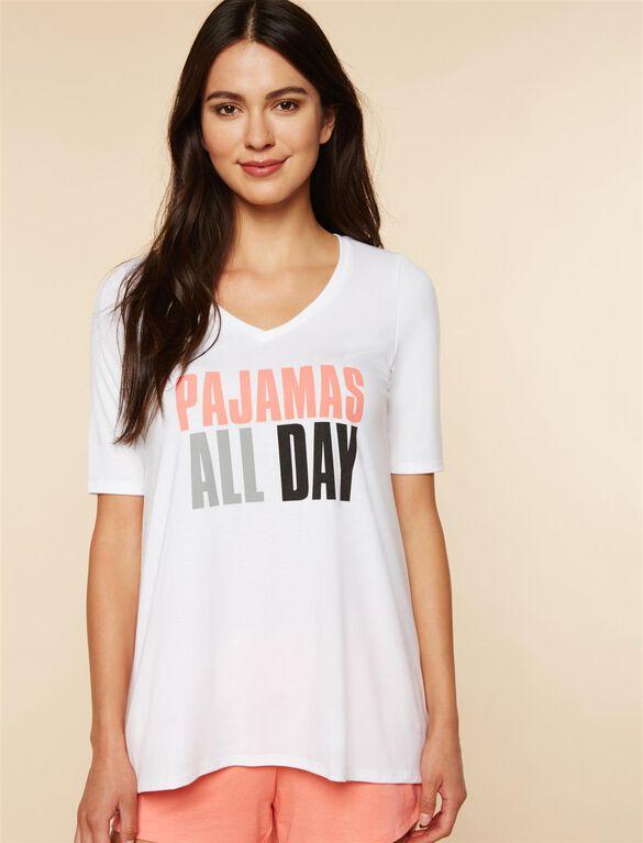 Pajamas All Day Nursing Sleep Top, White