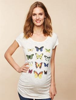 Butterfly Back Cutout Maternity Tee, Egret