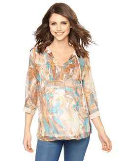 Ella Moss Decorative Trim Maternity Top, Multi Print