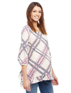 Ruffled Maternity Blouse, Pink Plaid