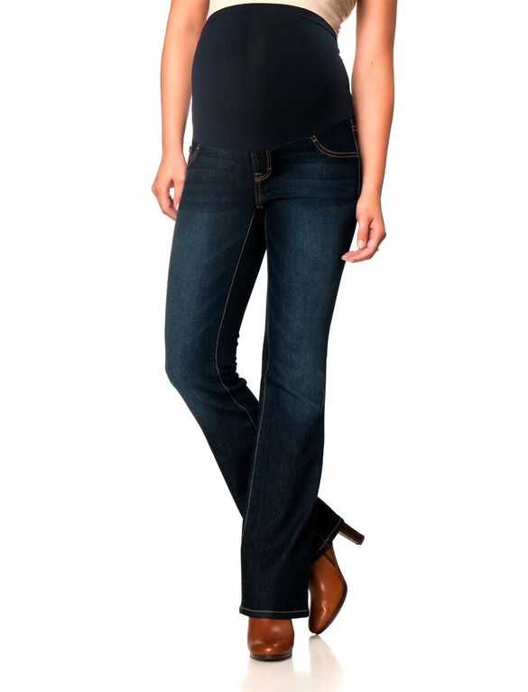 Secret Fit Belly Long Boot Cut Maternity Jeans, Midnight Dark