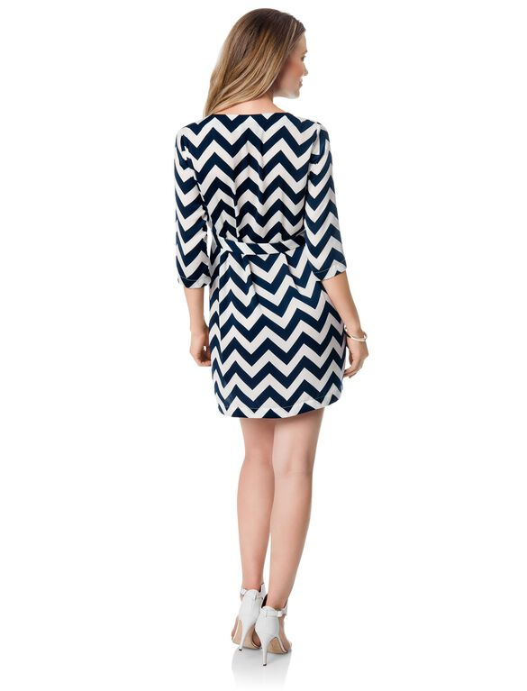 Madderson London Chevron Stripe Maternity Dress, Navy/White Chevron