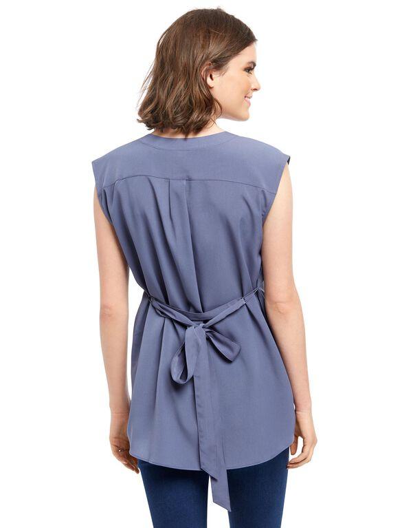 Cap Sleeve Tie Detail Maternity Tunic- Blue, Nightshadow
