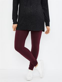 Secret Fit Belly Maternity Leggings- Solid, Pinot Noir