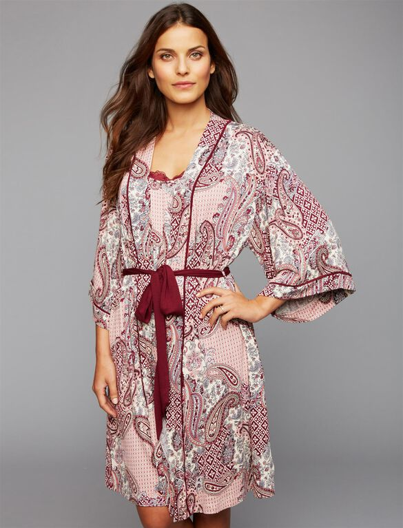 Lace Trim Maternity Robe, Patchwork Print