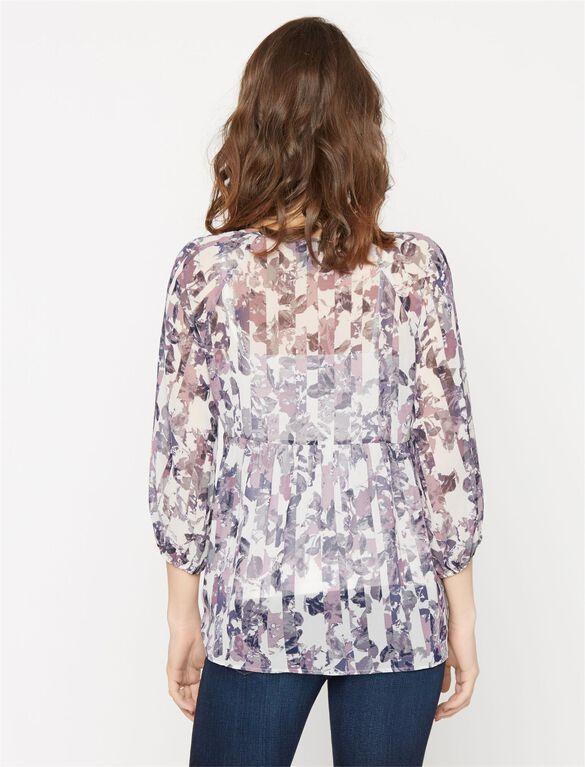 Button Detail Maternity Blouse, Blue/White Print