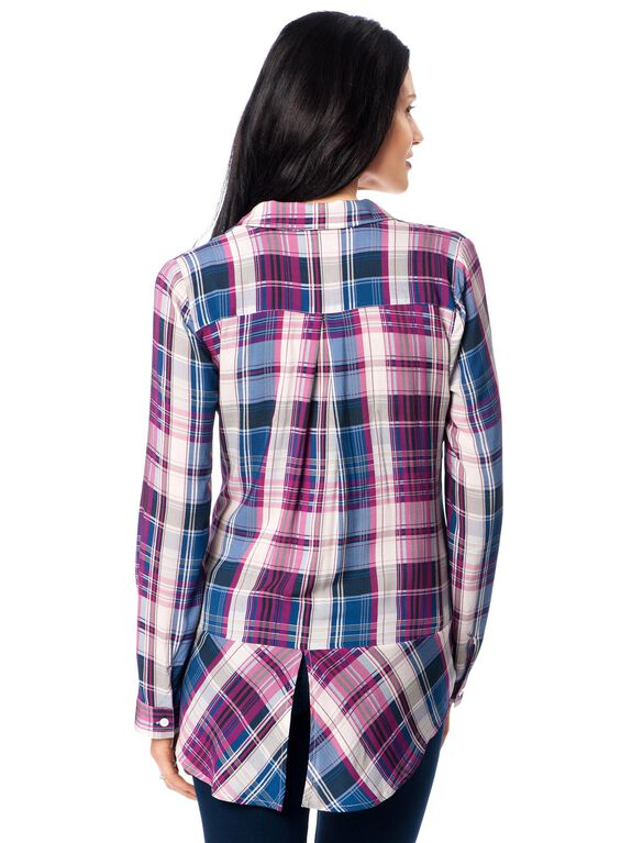 Button Front Maternity Shirt, Purple Plaid