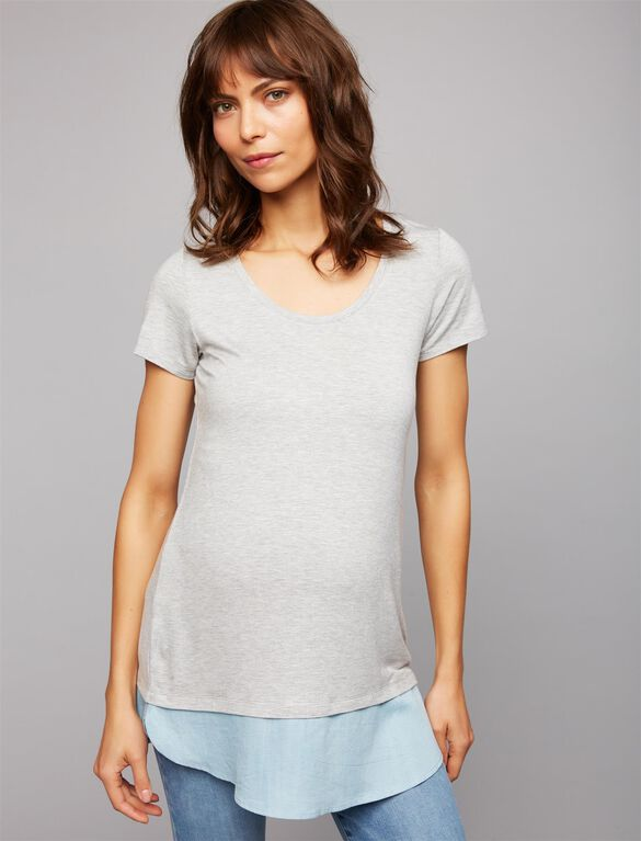 Chambray Trim Maternity Tee, Mix Grey