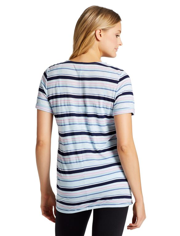 Jessica Simpson Pull Over Wrap Nursing Top, Blue Multi Stripe