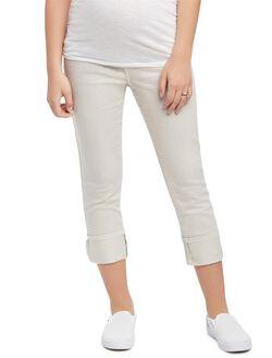 Secret Fit Belly Twill Skinny Leg Maternity Crop Pants, Rock Grey