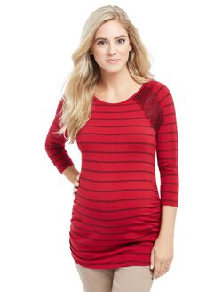Ruched Maternity Top, Red Stripe