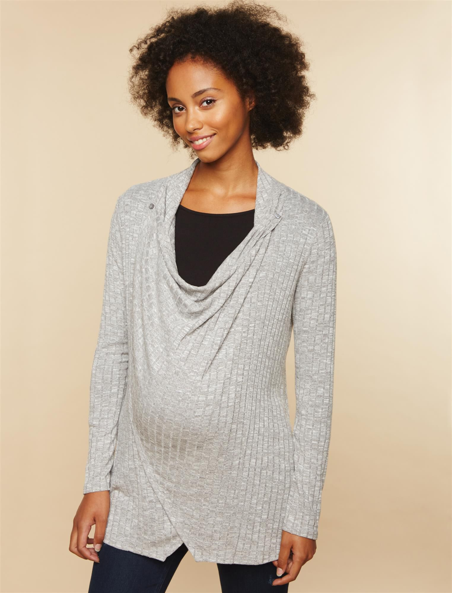 Pull Over 2 Button Closure Nursing Cardigan