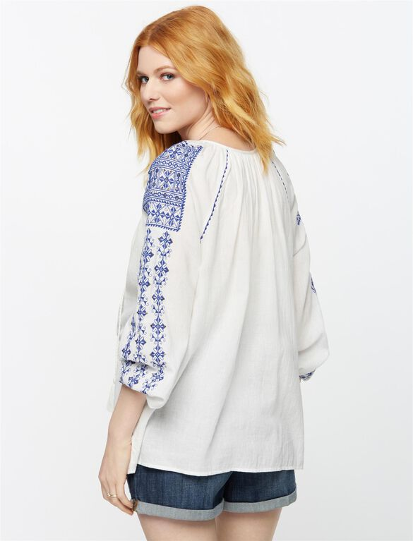 Split Neckline Embroidered Maternity Blouse- White, White/Blue