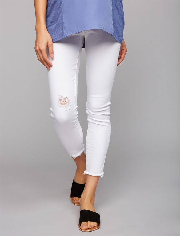 Articles Of Society Secret Fit Belly Fray Hem Maternity Jeans- White, White