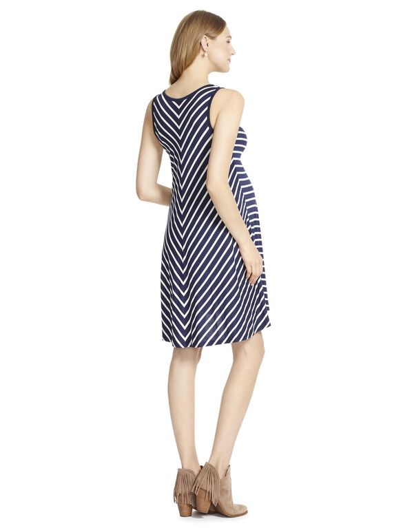 Jessica Simpson Sleeveless Striped Maternity Dress, Navy