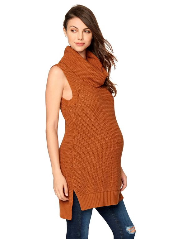 High-low Hem Maternity Pull Over, Saddle