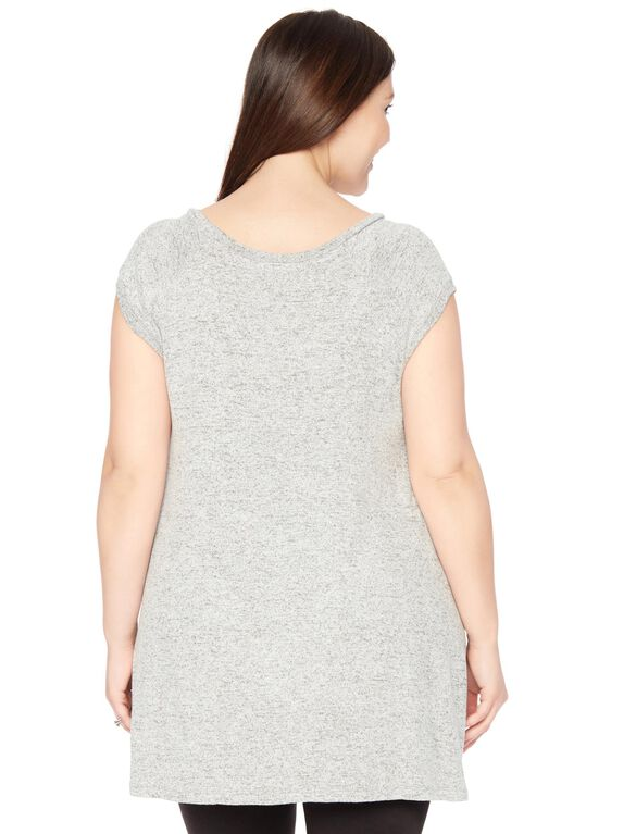 Wendy Bellissimo Plus Size Fringe Detail Maternity Top, Grey