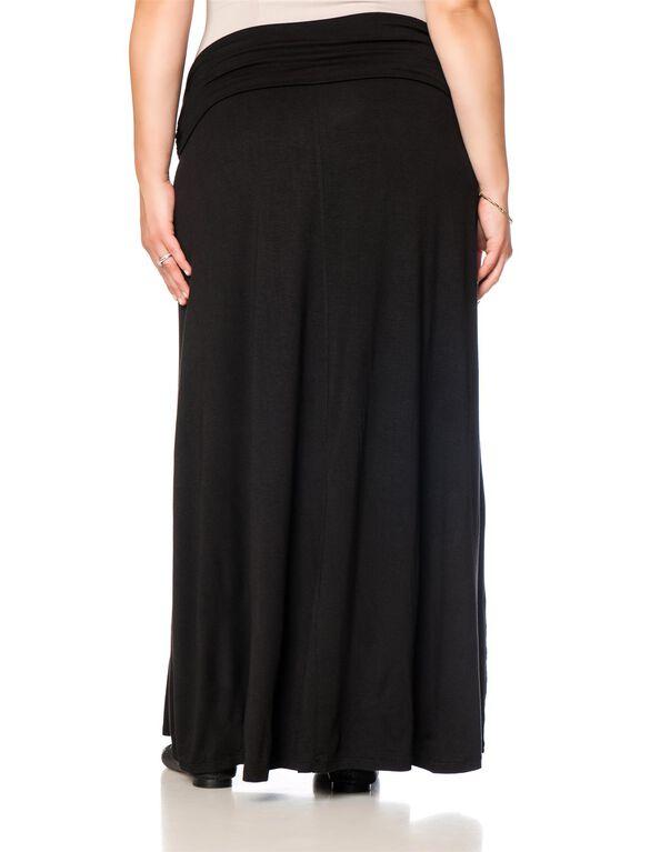 Plus Size Fold Over Belly Lightweight Maternity Skirt, Black