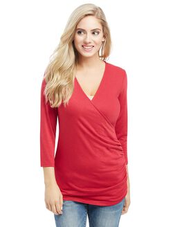 Pull Down Faux Wrap Nursing Top, Cranberry