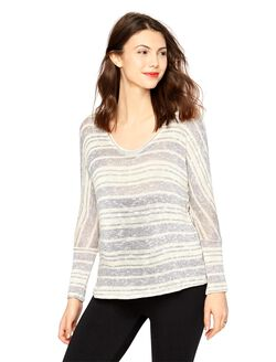 A Pea In The Pod 3/4 Sleeve Maternity T Shirt, Navy/White Stripe