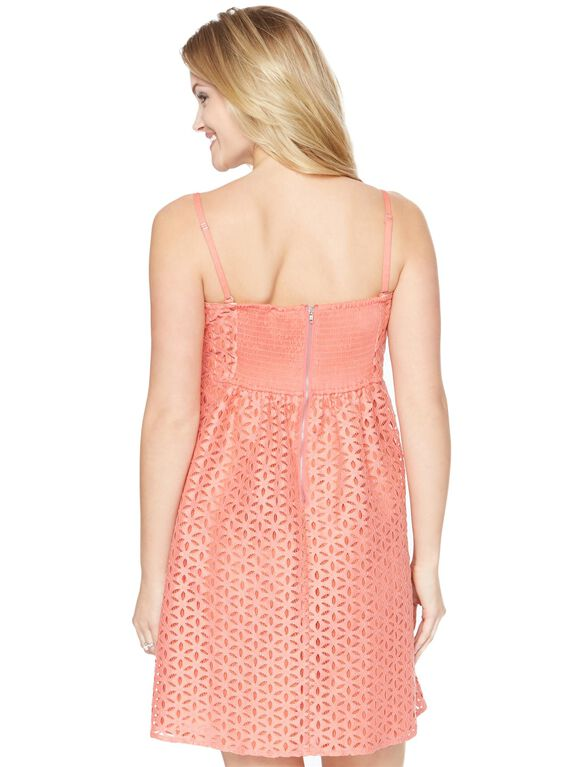 Eyelet Belted Maternity Dress, Coral