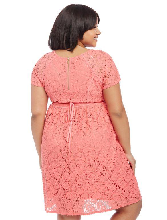 Plus Size Crochet Lace Maternity Dress, Sugar Coral