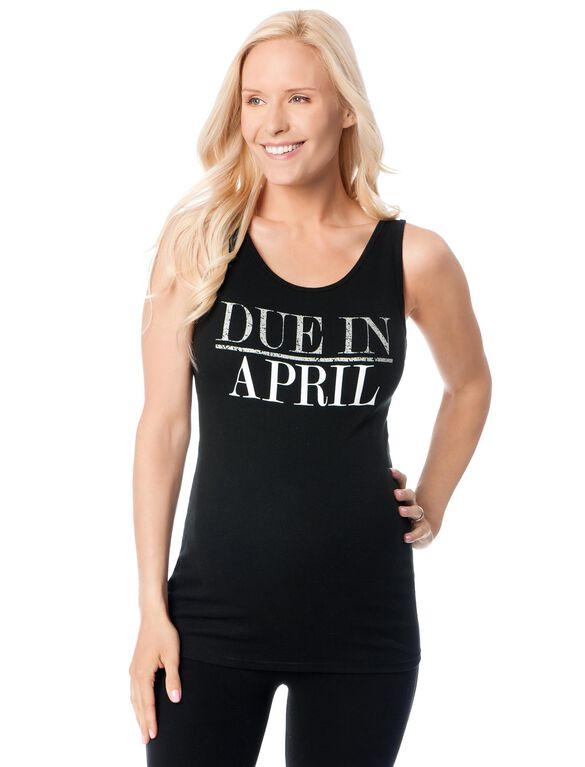 Due in April Maternity Graphic Tank Top, Diamond Glitter