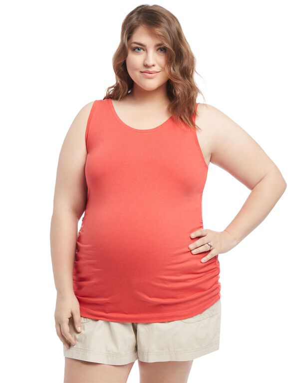 Plus Size Side Ruched Maternity Tank Top, Red
