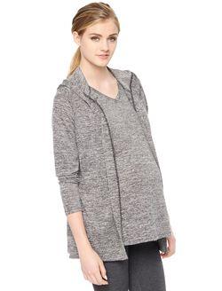 Hooded Maternity Cardigan, Grey