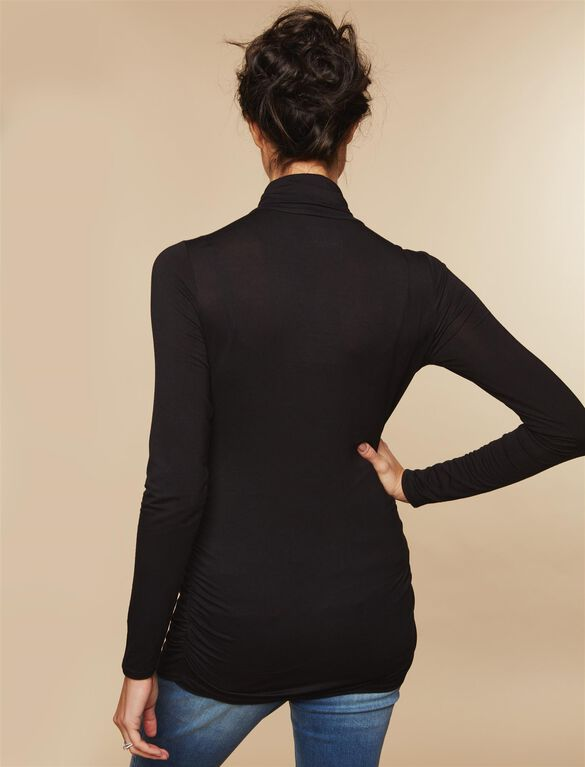 Side Ruched Maternity Shirt, Black